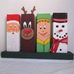 Hand-Painted Wooden 24 Christmas Decor featuring Santa Rudolph an Elf and a Snowman Wood Crafts Christmas Decor elf featuring Handpainted Rudolph Santa Snowman Wooden Christmas Wood Crafts, Christmas Signs Wood, Christmas Art, Christmas Projects, Holiday Crafts, Christmas Ornaments, Xmas, Santa Crafts, Outdoor Christmas
