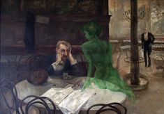 THE ABSINTHE DRINKER (1901) by Czech artist, Viktor Oliva.