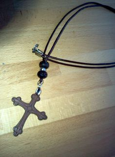 Wood Pendant Cross with Beads and Leather by RuggedCross777, $7.99
