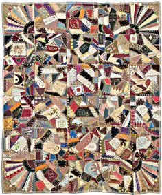 Crazy Quilt by Stewart West, 1883, Collection of the San Jose Museum of Quilts and Textiles.... Love the corners
