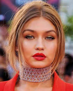 As seen on Gigi Hadid at the iHeartRadio Much Music Video Awards. Details Rhinestone Zinc Alloy Imported One Size Fits All Bella Gigi Hadid, Bella Hadid Outfits, Gigi Hadid Style, Thing 1, Fancy Hairstyles, Celebrity Crush, Malta, Hair Makeup, Prom Makeup