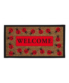 Crafted of coconut coir, this eco-friendly welcome mat charms with a vibrant ladybug-themed border. Product: DoormatConstruction Material: Coconut fiber coir and rubberColor: Natural, red and blackFeatures: Recycled rubber backingWovenDimensions: x Ladybug Girl, Ladybug Party, Ladybug House, Ladybug Crafts, Ladybug Decor, Evergreen Flags, Evergreen Enterprises, Coir Doormat, Class Decoration