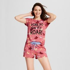 2ee179f9a0 Nite Nite by Munki Munki Women s Short Sleeve and Shorts Pajama Set - Coral  Roar Lion King XS