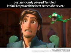 I'm pretty sure that was my face too, when Pascal stick his chameleon tongue in his ear...