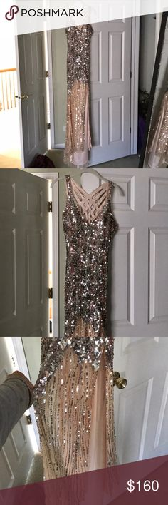 "Stunning Champagne Colored Sequined Prom Dress Absloutely gorgeous prom dress. it's from the brand ""primavera couture"" dresses. Only worn once. US size 4. My mannequin is broken so that's why it looks kinda weird on. Beautifully detailed in the back and a V Neck type front. Somewhat of a long slit in front as well, goes up to just about upper thigh. Great condition💕 Primavera Couture Dresses Prom"