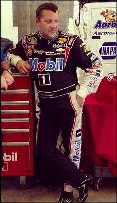 Tony Stewart in the garage at Indy. #NASCAR