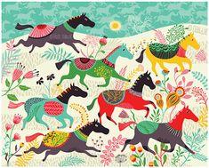 Wild Horses - by helen dardik. Limited edition giclee print of an original illustration. Printed on Epson velvet fine art stock (100% cotton rag),
