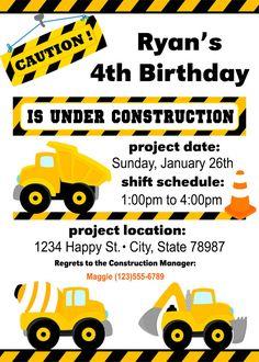 Volcar camión cumpleaños invitación construcción