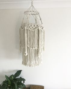 Macrame chandelier baby mobile nursery wall hanging bedroom decor boho bohemian