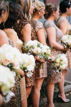 Gold Metallic Bridesmaids Dresses | photography by http://www.georgeriveraphotography.com/