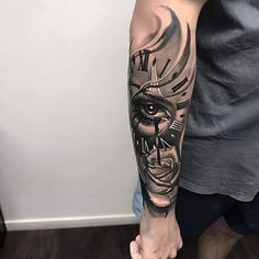Eye tattoo lion 37 new Ideas Forarm Tattoos, Cool Arm Tattoos, Best Sleeve Tattoos, Time Tattoos, Tattoo Sleeve Designs, Forearm Tattoo Men, Trendy Tattoos, Black Tattoos, Body Art Tattoos