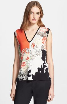 Etro Colorblock Floral Print Silk Sweater available at #Nordstrom