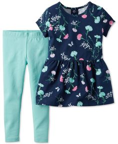 Carter's Baby Girls' 2-Piece Floral-Print Peplum Tunic & Mint Leggings Set