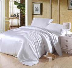 Pure Enjoyment White Luxury Bedding Silk Bedding Queen Size *** Read more at the image link. (This is an affiliate link and I receive a commission for the sales) Silk Bedding, Dorm Bedding, King Bedding Sets, Queen Size Bedding, Queen Bedroom, Bedroom Sets, Cheap Bed Sheets, White Silk, Flat Sheets