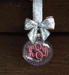Designs by K and J - Monogrammed Floating Glass Disc Tree Ornament, $10.00 (http://www.designsbykandj.com/monogrammed-floating-glass-disc-tree-ornament/)