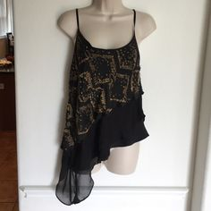 Robert Rodriguez Black Silk Beaded Top Robert Rodriguez black silk tank with adjustable. Gold beaded design. There are some beaded missing from the side, price reflects Robert Rodriguez Tops