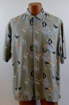 Nat Nast Large Mens Silk Blend Multi-Color Geometric Pattern Shirt Ex Used #NatNast #ButtonFront
