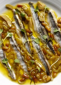 // Spanish Boquerones, Anchovies, Pine Nuts & Olives