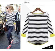2014 Primavera New feminina listrada de manga comprida camisa Moda assentamento costura Mulheres Casual pullover blosue malha T-shirts 5.99