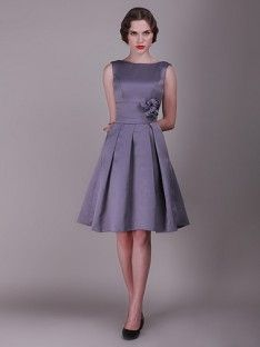 Vintage Bridesmaid Dress with Pleated Skirt and Rose Details; Color: Amethyst; Sizes Available: 2-26W, Custom Size; Fabric: Satin