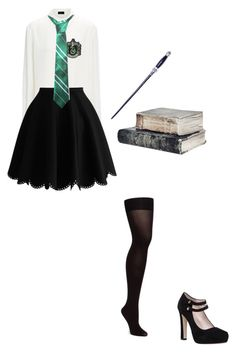 """""""Slytherin Uniform"""" by mprocedi ❤ liked on Polyvore featuring Joseph and Kate Spade"""