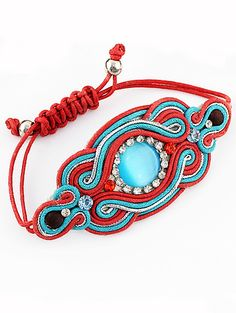 Red Blue Gemstone Weave Bracelet pictures
