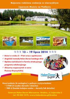 Rodzinne #wakacje z Helen Doron Bródno.  Lipowy Most to elegancki hotel położony w sercu Puszczy Knyszyńskiej. Zorganizujemy dla dzieci Mini Akademię Golfa oraz wyłonimy zwycięzców w Mini Turnieju Golfa. Młodsi i starsi będą mogli skorzystać z wypoczynku w strefie Wellness, gdzie znajdziemy basen oraz sauny.