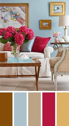 The living room color schemes to give the impression of more colorful living. Find pretty living room color scheme ideas that speak your personality. Brown Couch Living Room, Living Room Paint, New Living Room, Home Living, Living Room Interior, Living Room Decor, Small Living, Coastal Living, Modern Living