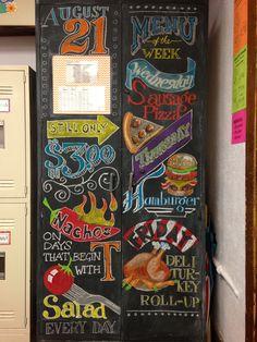 Chalkboard menu for my classroom.