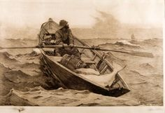 """APWinslow Homer's etching on paper """"The Fog Warning,"""" created in 1887 at his seaside home in Scarborough, Maine"""