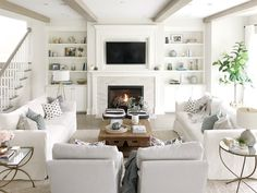 Open Concept Living Room 2019 open concept living room neutral decor white couches white sofa builtins fireplace tv above fireplace living room beams The post Open Concept Living Room 2019 appeared first on Furniture ideas. Living Room With Fireplace, Living Room Kitchen, Home Living Room, Tv Above Fireplace, Living Room Set Ups, Open Living Rooms, Living Room Decor With Tv, Family Room With Sectional, Living Room With Windows