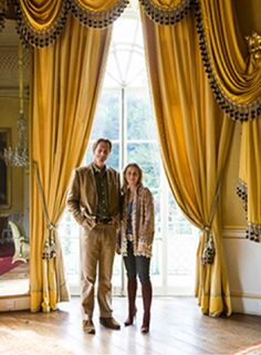 Sezincote House, Gloucestershire. Plain Lustring in yellow pure silk for the Saloon window drapes Ref 2168. www.humphriesweaving.co.uk