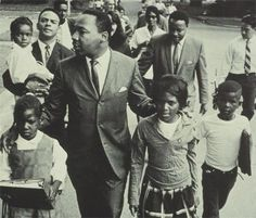 MLK with some children who joined a march.