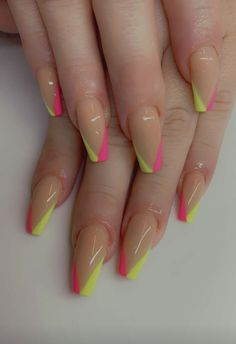 #coffinnails #nailtrends #calinails #neonnails #prettynails #frenchtipnails #summernails #gelpolish #nailsonfleek #acrylicnails Cali, Pretty Nail Designs, Neon, French Tip Nails, Nail Tips, Coffin Nails, Pretty Nails, Summer, Fancy