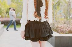 cute ruffle blouse and skirt, cute outfit, K Fashion,  (≧∇≦)/ casual, cute outfit, Cute Korean Fashion, korea, Korean, seoul, kfashion, kpop fashion, girl's wear, ladies' wear, pretty, kawaii