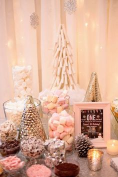 Winter ONEderland First Birthday Party - Hot chocolate toppings bar from a Winter ONEderland First Birthday Party on Kara's Party Ideas First Birthday Winter, Winter Birthday Parties, Baby Girl 1st Birthday, 18th Birthday Party, Frozen First Birthday, 13th Birthday Party Ideas For Girls, Parties Kids, Happy Birthday, Birthday Table