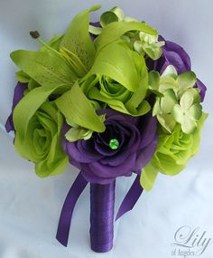 17 Piece Wedding Flower Package Bridal Bouquet by LilyOfAngeles