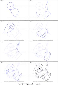 How to Draw Porygon from Pokemon printable step by step drawing sheet : DrawingTutorials101.com