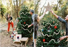 Tree decorating photo shoot