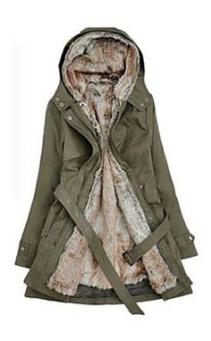 6749ce2092435f Women s Hoodie Thick Parka Belted Winter Coat Parka Coat
