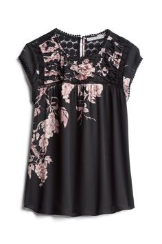 Not a fan of the sleeve trim but love the pattern. stitch fix fall, Fashion Over, Look Fashion, Fashion Outfits, Womens Fashion, Stitch Fix Fall, Stitch Fit, Stitch Fix Outfits, Floral Tops, Floral Motif