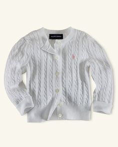Ralph Lauren Childrenswear Infant Girls' Cable Cardigan Sweater - Sizes 9-24 Months