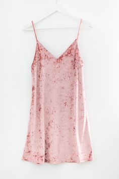 """- Soft crushed velvet cami slip dress - Flattering V neckline - Spaghetti straps - Size small measures approx. 32"""" in length - 96% Polyester 4% Spandex - Made in USA"""