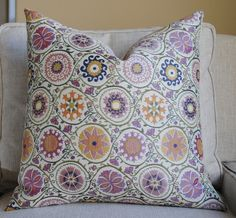 NEW- Ready to Ship- Beautiful Decorative Pillow Cover-20x20 Flower Dew-Violet Sky