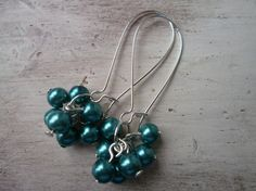 NOW SOLD! Glass Pearl Cluster Earrings on Long Silvertone Kidney Wires for Pierced Ears Teal, £4.50 by LovesVintage43