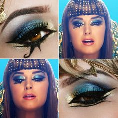 Tutorial da maquiagem azul de Katy Perry em Dark Horse, for my Halloween costume Blue Makeup, Makeup Art, Makeup Eyeshadow, Beauty Makeup, Eyeliner, Hair Makeup, Katy Perry, Ancient Egyptian Makeup, Egyptian Era