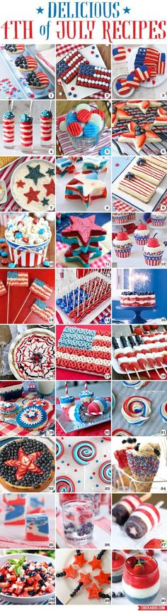 30 delicious (and pretty!!) 4th of July recipes! These look so amazing! #4thofjuly #recipes
