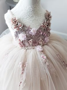 Rhapsody Gown in Mink by Anna Triant Couture Little Girl Gowns, Gowns For Girls, Little Girl Dresses, Girls Dresses, Flower Girl Dresses, Kids Gown, Baby Couture, Fairy Dress, Baby Gown