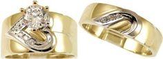 14k Yellow Gold, Trio Three Piece Wedding Ring Set Heart Lab Created Gems