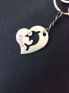 Key chain. Dolphin inside a heart.